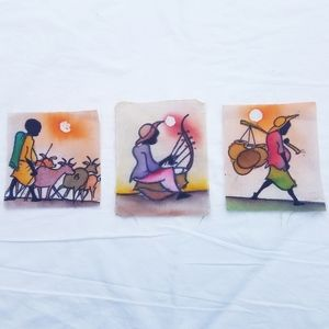 African Hand Painted Fabric Story Squares Craft